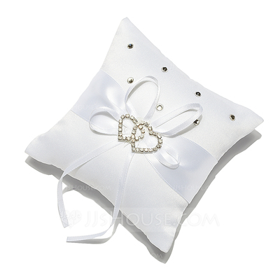 Mini Ring Pillow in Satin With Rhinestones/Double Hearts