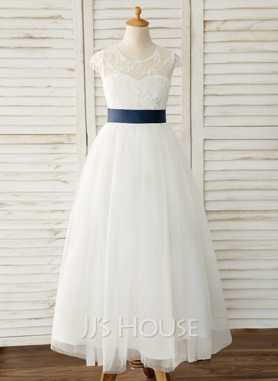 A-Line Floor-length Flower Girl Dress - Satin/Tulle/Lace Sleeveless Scoop Neck With Sash (Detachable sash)