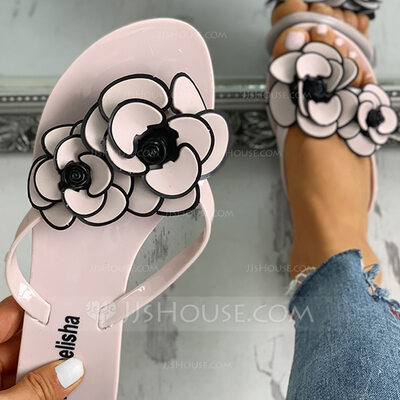 Women's PVC Flat Heel Sandals Flip-Flops Slippers With Flower shoes