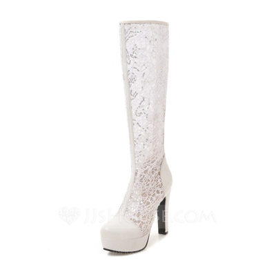 Women's Leatherette Wedge Heel Boots Closed Toe Platform Pumps With Stitching Lace