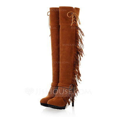 Leatherette Stiletto Heel Over The Knee Boots With Tassel shoes