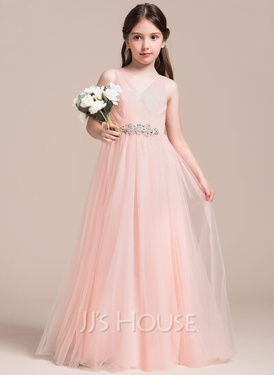 A-Line/Princess V-neck Floor-Length Tulle Junior Bridesmaid Dress With Ruffle Beading Sequins
