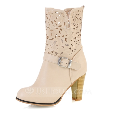 Leatherette Chunky Heel Pumps Closed Toe Ankle Boots With Buckle shoes