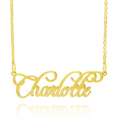 Christmas Gifts For Her - Custom 18k Gold Plated Silver Cursive Vintage Name Necklace