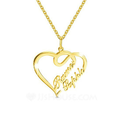 Personalized Ladies' Eternal Love 925 Sterling Silver With Heart Name Necklaces Necklaces For Bride/For Bridesmaid/For Mother/For Friends/For Couple