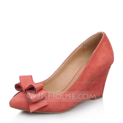 Women's Suede Wedge Heel Pumps Closed Toe Wedges With Bowknot shoes