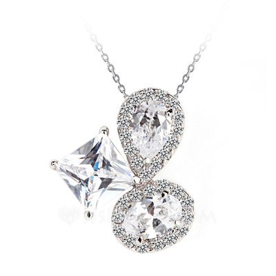 Beautiful Copper/Zircon/Platinum Plated Ladies' Necklaces
