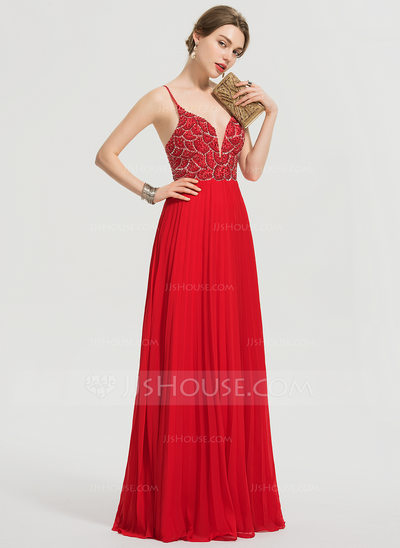 A-Line V-neck Floor-Length Chiffon Prom Dresses With Beading Sequins Pleated