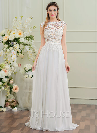 A Line Princess Scoop Neck Sweep Train Chiffon Wedding Dress With Bow S