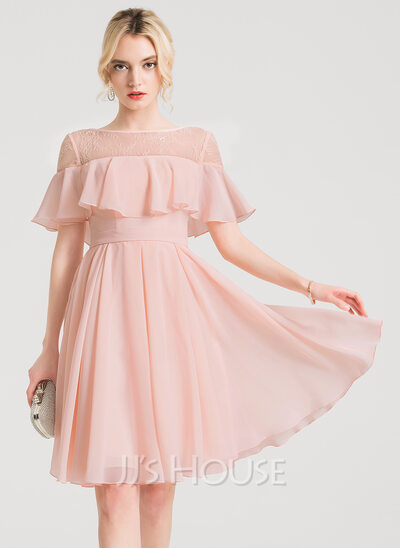 A-Line Scoop Neck Knee-Length Chiffon Cocktail Dress With Lace Cascading Ruffles
