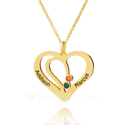 Custom 18k Gold Plated Silver LOVE Overlapping Two Name Necklace Heart Necklace Birthstone Necklace With Birthstone - Christmas Gifts
