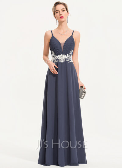 A-Line Sweetheart Floor-Length Chiffon Prom Dresses With Lace