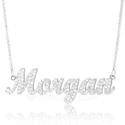 Christmas Gifts For Her - Custom Sterling Silver Plate Name Necklace With Diamond