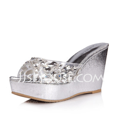 e8bcb9e0323df2 Leatherette Wedge Heel Platform Wedges Sandals With Rhinestone ...