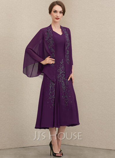 A-Line V-neck Tea-Length Chiffon Mother of the Bride Dress With Beading