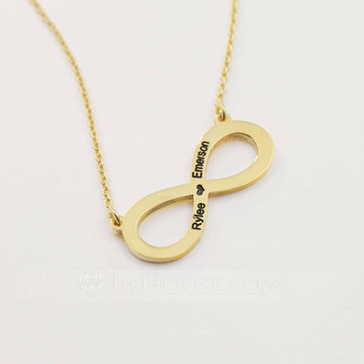 Personalized Ladies' Eternal Love Gold Plated Engraved Necklaces For Bridesmaid/For Friends/For Couple