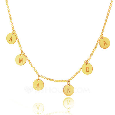 Christmas Gifts For Her - Custom 18k Gold Plated Silver Letter Initial Necklace Circle Necklace
