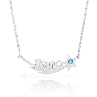 Christmas Gifts For Her - Custom Sterling Silver Name Birthstone Necklace Nameplate With Kids Names