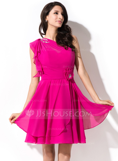 A-Line/Princess One-Shoulder Short/Mini Chiffon Homecoming Dress With Beading Sequins Cascading Ruffles