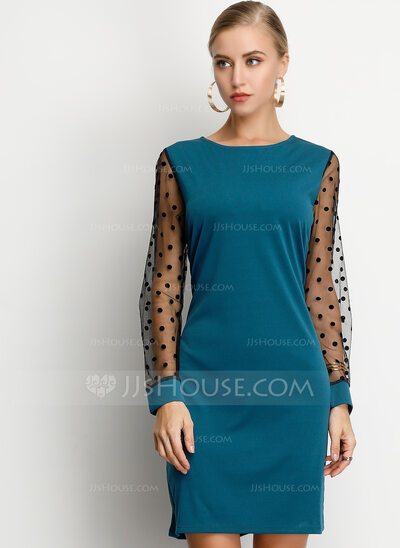 Polyester With PolkaDot/Solid Above Knee Dress