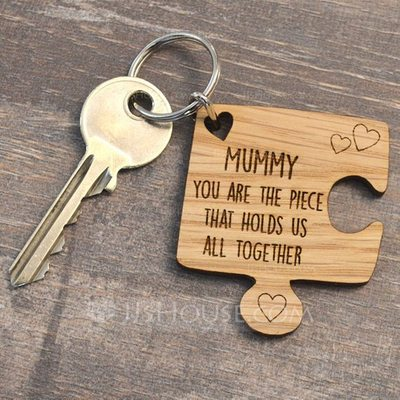 Personalized Simple Wooden Keychains