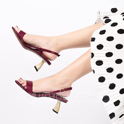 Women's Canvas PU Stiletto Heel Sandals Peep Toe With Buckle shoes