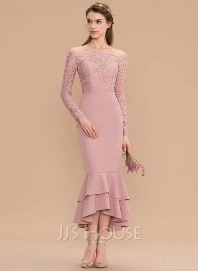Trumpet/Mermaid Off-the-Shoulder Asymmetrical Lace Stretch Crepe Bridesmaid Dress With Cascading Ruffles