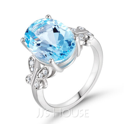 Butterfly Vintage Aquamarine Blue Oval Cut 925 Silver Engagement Rings