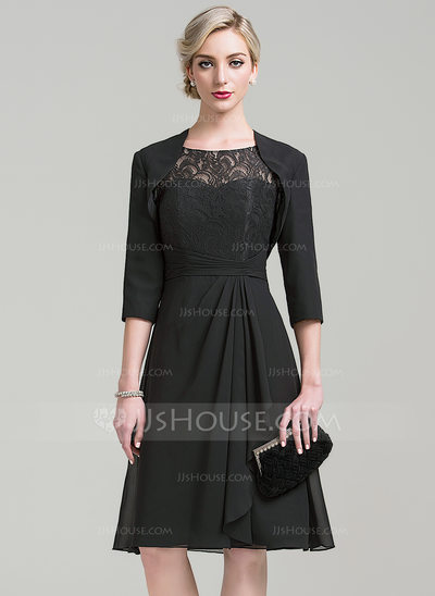 A-Line/Princess Scoop Neck Knee-Length Chiffon Lace Mother of the Bride Dress With Cascading Ruffles