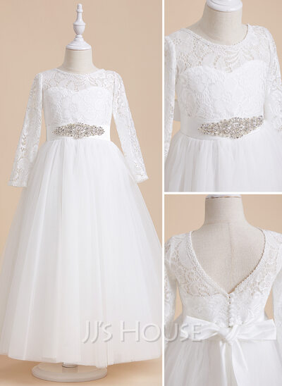 A-Line Ankle-length Flower Girl Dress - Satin/Tulle/Lace Long Sleeves Scoop Neck With Beading