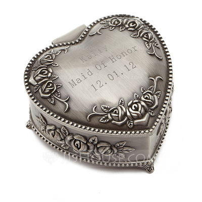 Personalized Vintage Style Zinc Alloy Jewelry Holders With Flowers