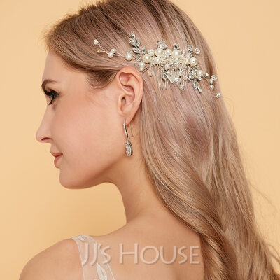 Glamourous Alloy Combs & Barrettes With Pearl