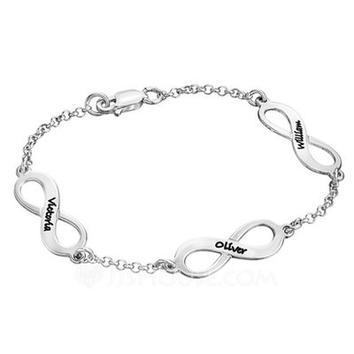 Personalized Ladies' Eternal Love 925 Sterling Silver Engraved Bracelets Bracelets For Bride/For Bridesmaid/For Mother/For Friends/For Couple