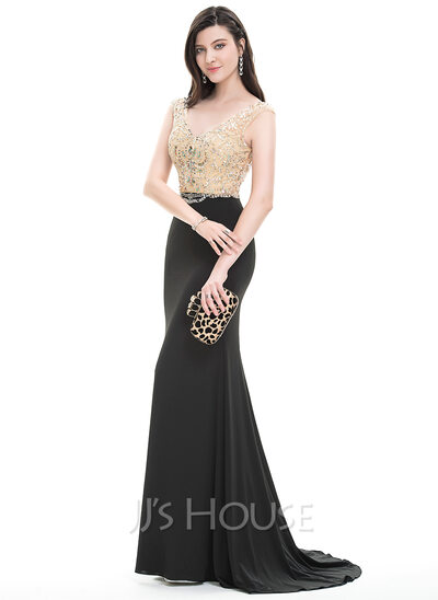 Trumpet/Mermaid V-neck Sweep Train Jersey Prom Dresses With Beading ...