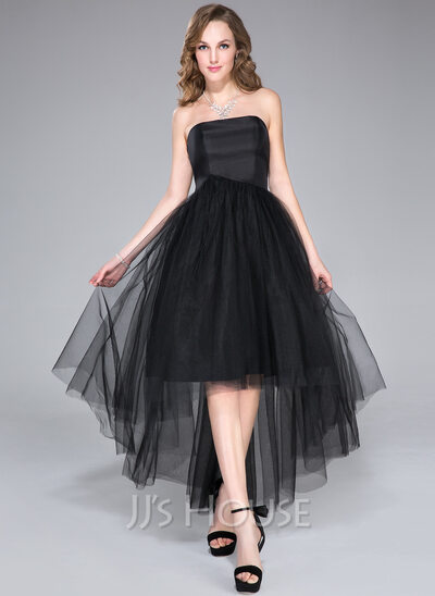 A-Line Strapless Asymmetrical Taffeta Tulle Homecoming Dress With Ruffle