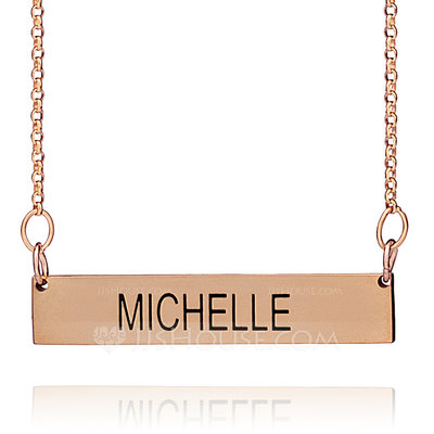 Christmas Gifts For Her - Custom 18k Rose Gold Plated Silver Bar Engraving/Engraved Name Necklace Nameplate