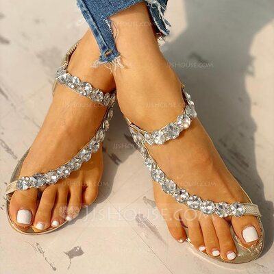Women's PU Wedge Heel Peep Toe Sandals With Rhinestone