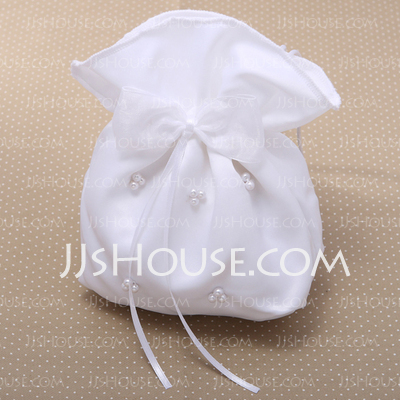 Gorgeous Satin With Bowknot/Imitation Pearl Wristlets/Bridal Purse