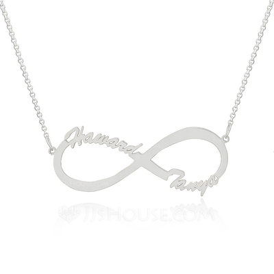 Custom Sterling Silver Infinity Two Name Necklace Infinity Name Necklace - Christmas Gifts