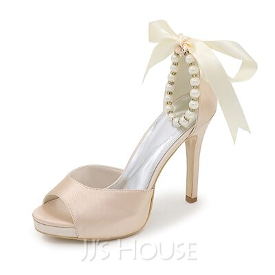 Women's Satin Stiletto Heel Peep Toe Sandals With Bowknot Imitation Pearl