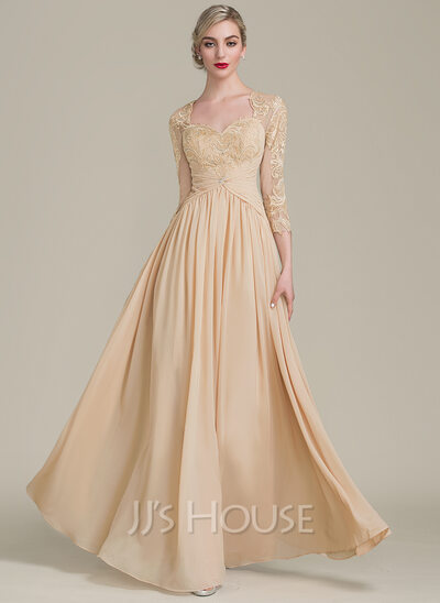 A-Line Sweetheart Floor-Length Chiffon Lace Mother of the Bride Dress With Ruffle Beading