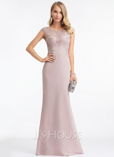 Sheath/Column Scoop Neck Floor-Length Stretch Crepe Evening Dress With Beading Sequins