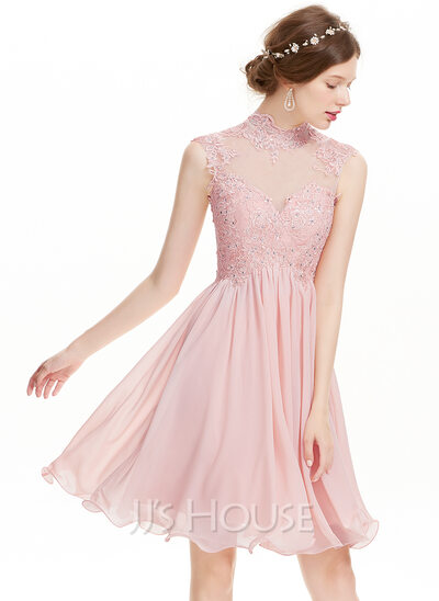 A-Line High Neck Knee-Length Chiffon Homecoming Dress With Beading