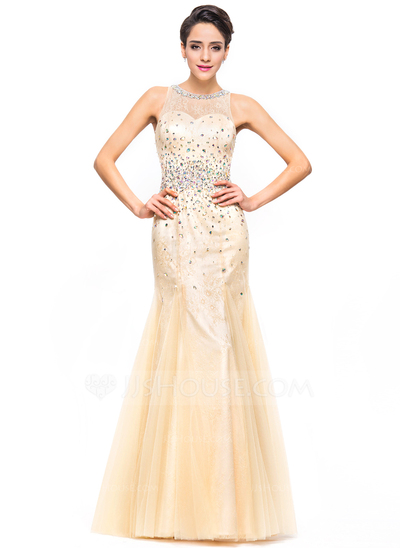 Trumpet/Mermaid Scoop Neck Floor-Length Tulle Lace Prom Dresses With ...