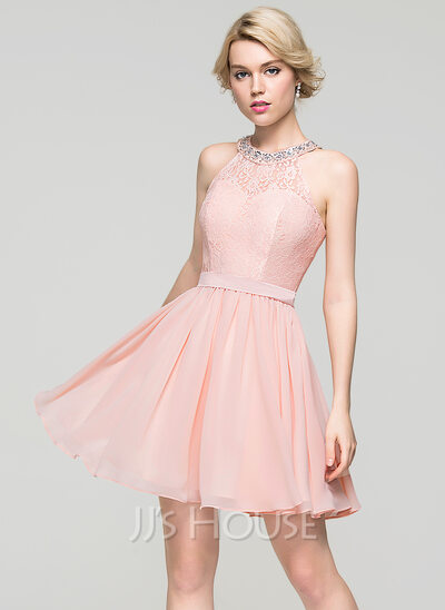 A-Line/Princess Scoop Neck Short/Mini Chiffon Homecoming Dress With Beading Sequins Bow(s)