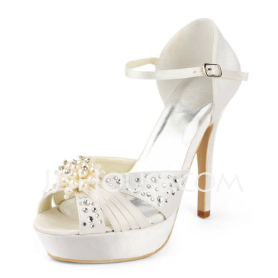 Women's Satin Stiletto Heel Platform Sandals With Imitation Pearl Rhinestone