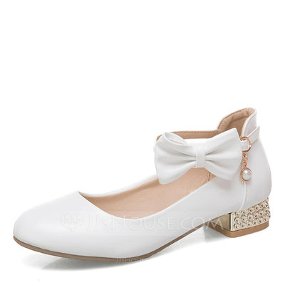 Femmes Similicuir Talon bottier Mary Jane avec Bowknot Talon cristal