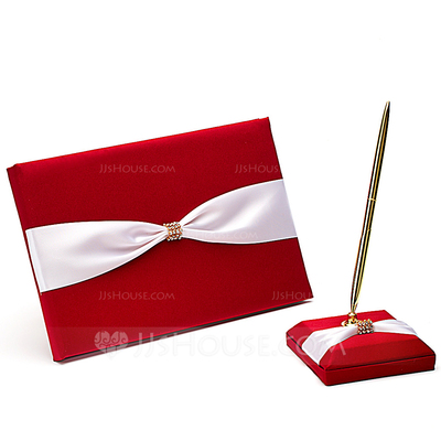Perfect Rhinestones/Bow Guestbook & Pen Set
