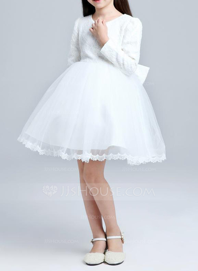 A-Line/Princess Knee-length Flower Girl Dress - Cotton Blends Long Sleeves Scoop Neck With Lace