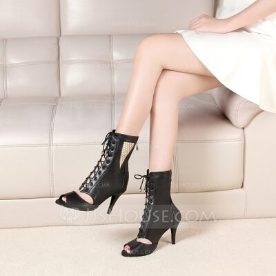 Women's Real Leather Boots Latin Modern Ballroom With Lace-up Dance Shoes